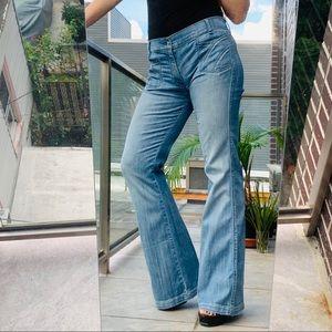 7FAM braided flare jeans high waisted NWT